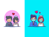 Wedding.... (BEFORE - AFTER)  🎉😝👰🏻 person people character logo icon illustration normal new coronavirus corona mask woman man heart love husband wife relationship romance wedding