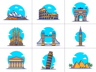 Travelling....... ✈️🧳🗺️🌎 (PART 1) pyramid bridge logo icon illustration london england australia spain italy barcelona germany egypt sydney opera house landmark building famous
