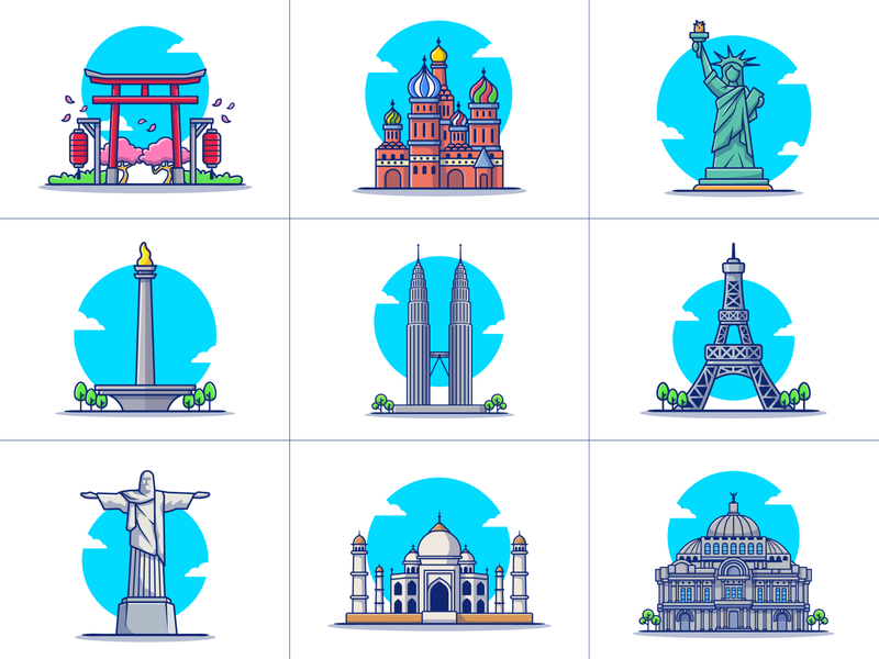 Travelling....... ✈️🧳🗺️🌎 (PART 2) logo icon illustration twin towers brazil monas paris eiffel tower taj mahal liberty statue mexico torii gate japan landmark building famous holiday travelling travel