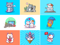 Happy International Cat Day!! 😹 😻 😼 😽 icon illustration mascot logo character astronaut space noodle eat sleep couple love gaming laptop kitten kitty cat day cat international happy