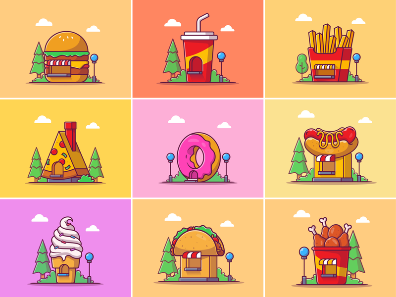 Fast Food Building!! 🍔🍩 🍟🌭🍕🥤🍦🌮🍗 logo illustration icon fried chicken burrito taco potato french fries icecream soda pizza hotdog burger shop house building food fastfood fast