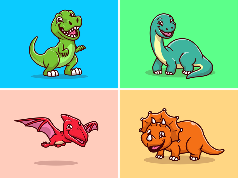 Dino Collection~ 🦕🦖 icon illustration cartoon logo mascot character science reptile jurassic animal pterodactyl trex dinosaurus dinosaurs dinosaur dino