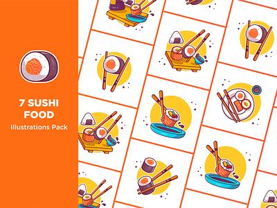 Sushi!! 🍣🍣🍣🥢 eat bar chopsticks soy sauce meal restaurant fish rice salmon seafood logo icon illustration sashimi chopstick japanese onigiri sushi roll food sushi