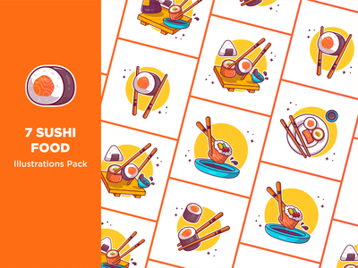 Sushi!! 🍣🍣🍣🥢 eat bar chopsticks soy sauce meal restaurant fish rice salmon seafood logo icon illustration sashimi chopstick japanese onigiri sushi roll food sushi