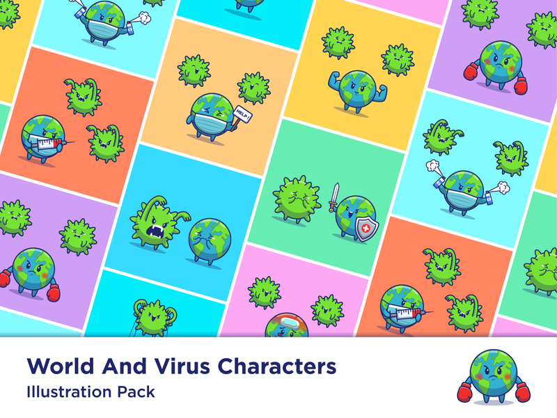 World And Virus Cartoon 🌎🦠😹 fever health disease infection medical globe earth disinfectant boxing cute fight logo icon illustration mascot character bacteria virus coronavirus corona