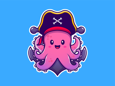 Pirate Octopus! 🐙🐙🏴‍☠️ sailor hat underwater tentacles water icon illustration logo mascot character cute happy sea ocean animal marine anchor pirate squid octopus