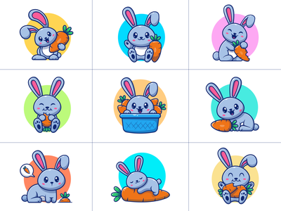 Rabbit and carrot 🐰🥕 cartoon food fluffy vector mammal furry nature hare illustration icon cute character mascot logo vegetable animal pet carrot bunny rabbit