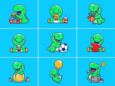Baby Dino!! 🦖🍔🍕🥤 illustration wild jurassic kids dinosaurus icon logo mascot character soccer egg pizza soda burger dinosaurs dinosaur baby cute animal dino