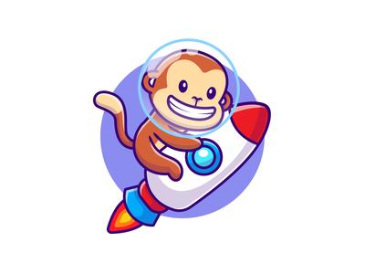 space monkey🙈🙉🚀👨🏻‍🚀 science cosmonaut ape chimpanzee flying helmet icon illustration animal logo mascot spaceman spaceship character rocket cute chimp monkey astronaut space