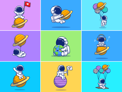 Astronaut Planet 👨🏻🚀🪐 suit gravity spaceship earth galaxy spaceman cosmonaut love illustration icon logo mascot cute character music moon flying space planet astronaut