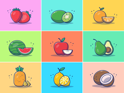 Fruit Collections!! 🍓🥝🍍🍋🍉🥑 🥥 vegetarian healthy fresh icon illustration logo fruit logo juicy summer coconut lemon pineapple avocado apple watermelon orange kiwi strawberry food fruit