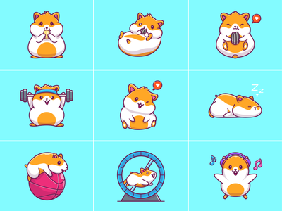 Hamster 🐹🌻 cartoon rodent fluffy icon illustration logo character mascot running eat sleeping cute pet animal sunflower seed gym rat mouse hamster