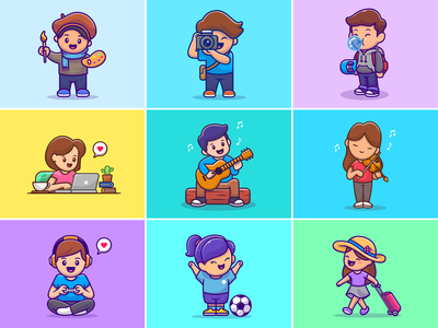 people hobbies 🎨📸🎻🎸🎮💻⚽ logo icon illustration gamer game travelling technology laptop music guitar violin soccer skateboard skater camera photographer painter profession hobby people
