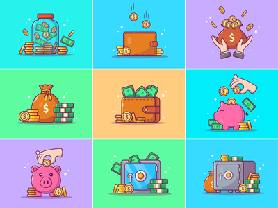 Saving money 💰💸💵🐷 payments investment wealth currency cash cute icon illustration logo piggy bank payment pig wallet coin gold finance dollar money saving