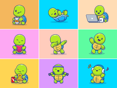 Turtle 🐢🐢 drink food pizza laptops music gym love baby cute laptop coffee icon illustration mascot logo character pet animal tortoise turtle