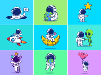 astronauts!! 🚀👨🏻‍🚀👽🪐 universe planet science spaceman cosmonaut coffee food love logo icon illustration mascot character rocket moon star space earth alien astronaut