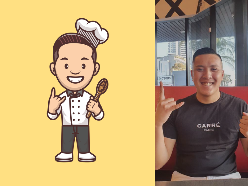 Avatar Mascot 👨‍🍳👦🏽👧👨👧🏽 restaurant shoes outfits woman man girl boy female male fashion style chef person illustration icon logo character mascot avatar people
