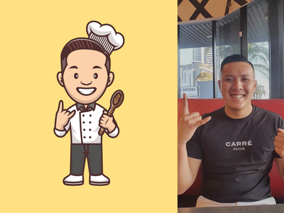 Avatar Mascot 👨🍳👦🏽👧👨👧🏽 restaurant shoes outfits woman man girl boy female male fashion style chef person illustration icon logo character mascot avatar people
