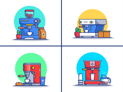 Coffee Machine ☕☕♨️ break coffee bean cappuccino aroma morning caffeine brown hot beverage espresso cafe cup drink breakfast coffee cup machine coffee logo icon illustration