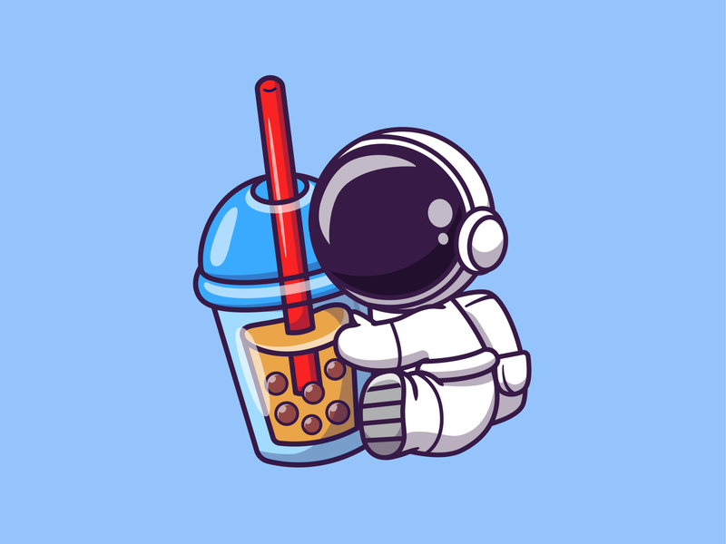 Astro Drink!! 👨‍🚀🚀🥤🍼☕ science spaceman cosmonaut bubble pearl icon illustration mascot logo character cute beverage space coffee tea boba tea milk boba drink astonaut