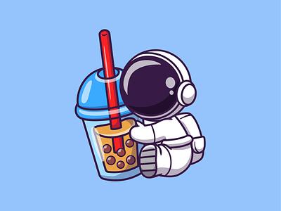 Astro Drink!! 👨🚀🚀🥤🍼☕ science spaceman cosmonaut bubble pearl icon illustration mascot logo character cute beverage space coffee tea boba tea milk boba drink astonaut