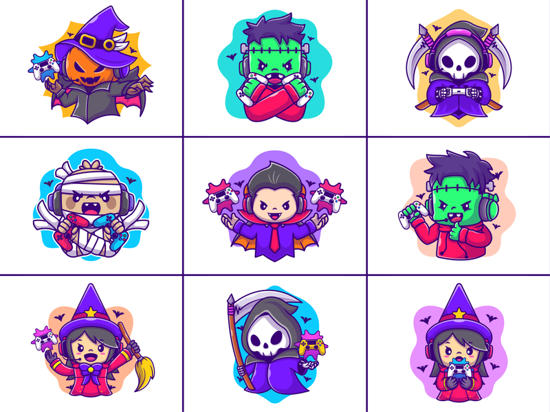 Halloween Gaming!! 👻🎃💀🦇🎮 spooky holiday icon illustration character mascot logo mummy zombie frankenstein dracula witch joystick console controller skull reaper pumpkin gaming halloween