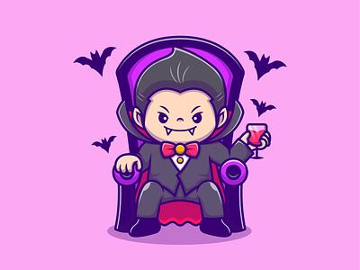 Dracula!! 🧛♂️🎃🦇 cute nightmare night moon blood drink icon illustration mascot logo kid boy character trick or treat candy halloween pumpkin bat vampire dracula