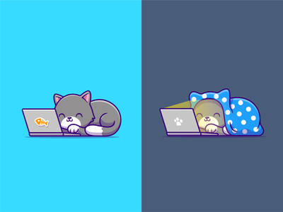 Day Mode vs Night Mode 😹💻 icon illustration character mascot logo cute home computer technology working blanket cinema film movie watching streaming pet animal laptop cat