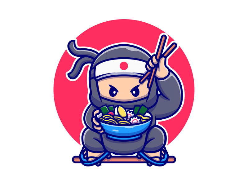 Ninja Food 🐱‍👤🍜🍥🍣🍙 salmon fish knife bowl rice dango japanese japan onigiri noodle ramen chopstick sushi icon illustration mascot logo character food ninja