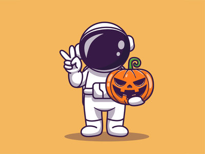 Astronaut Activities 👨‍🚀🚀🎃🎶🛒🎮 joystick gaming game box gift muscle strong peace halloween boombox pumpkin icon illustration logo mascot character kid space spaceman astronaut