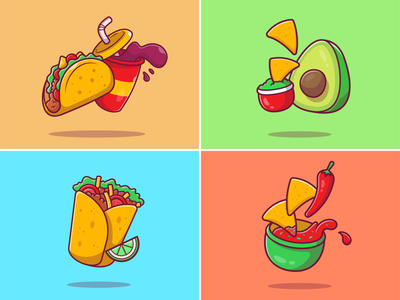 Mexican Food 🌮🥑🌶️🌯 nachos tacos vegetable meat meal sauce tortilla spicy mexico illustration icon hot papper chili avocado burrito soda taco food mexican food mexican