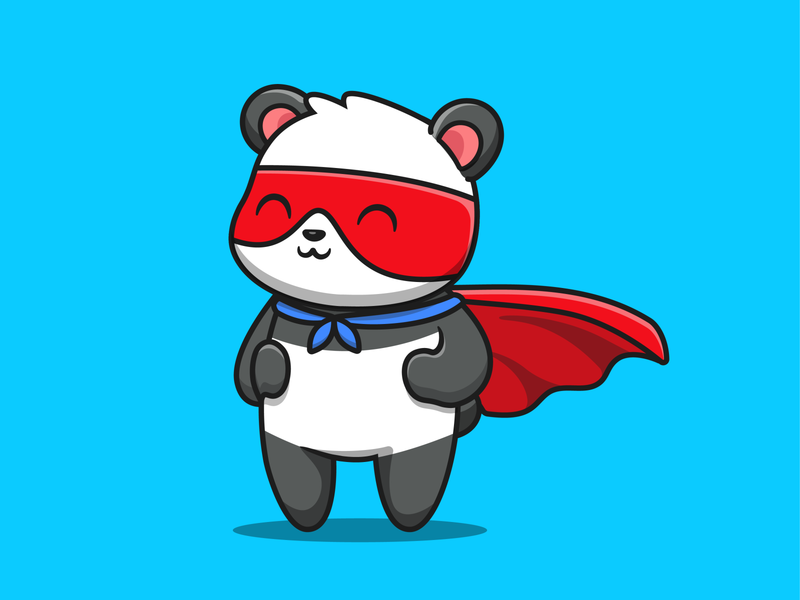 Panda 🐼🐼🐼 mask drink boba kungfu bamboo book education pillow sleep hero superhero super vector icon illustration logo mascot character animal panda
