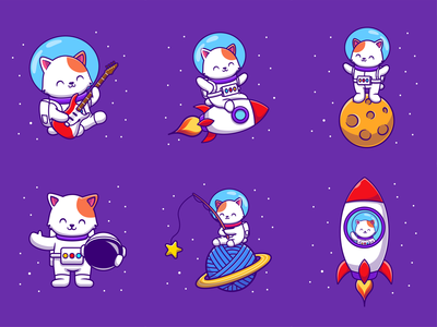 Astro Cat 😹👨‍🚀🚀 flying flight universe spaceman planet moon stars music guitar logo rocket helmet icon illustartion mascot character animal space cat astronaut