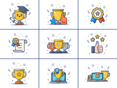 Rewards 🏆🏆🎉🎇🙌 loyalty winner ribbon scholarship graduation success win compotition victory celebration bonus illustration logo icon confetti trophy gold award prize reward