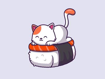 Cat sushi & Cat Chef 😺👨‍🍳🍣🥢 kawaii seafood rice japanese eat chef food animal fish salmon sushi roll illustration icon character logo mascot cartoon chopstick sushi cat