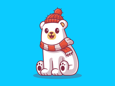 Happy winter ❄️☃️🐧🦌 holiday bear polar character mascot logo vector icon illustartion kawaii cute animal penguin beanie yeti deer snowman snow season winter