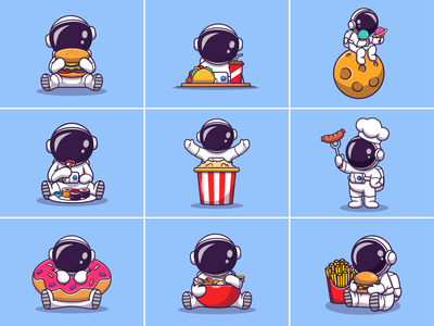 Astronaut Food 👨‍🚀🍔🌮🍦🍣🍜🍩 ramen noodle doughnut donut cartoon character mascot logo icon illustration chopstick salmon sushi planet moon soda taco burger food astronaut