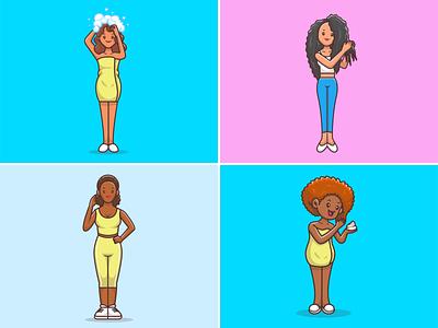 Girl Hair Treatments ❤️👩🦱👩🏻👩🏾🦱 towel beauty person model cute icon illustration logo mascot character women woman female avro shampoo conditioner treatment beautiful hair girl