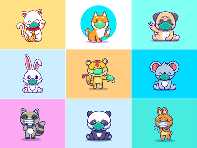 Animals Mask 😷😺🐶🐰🐼🐨🐯 icon illustration logo mascot character cute raccoon koala tiger panda rabbit pug shiba inu dog cat corona virus pandemic mask animal