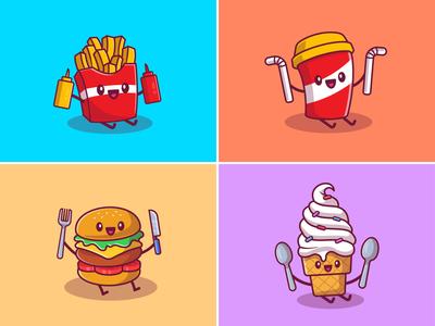 Cute Fast Food 🍔🍟🥤🍦🌮🌭🥪🍿 food and drink drink taco meal sandwich burger popcorn hotdog ice cream soda french fries icon illustration logo character food fastfood mascot kawaii cute