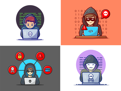 Hackers 🐱💻💻👨🏻💻 virus hacking cyber internet computer security hackers warning developer programmer icon illustration logo character mascot thief crime technology people hacker