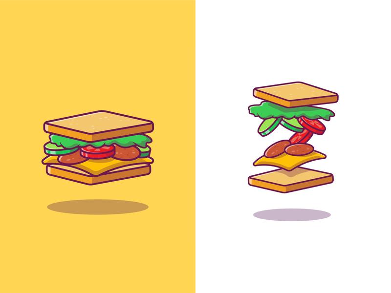 Sandwich 🥪🥪 sandwiches salad vegetable toast meal ham snack cheese lunch lettuce illustration icon breakfast health tomato ingredient bun bread food sandwich