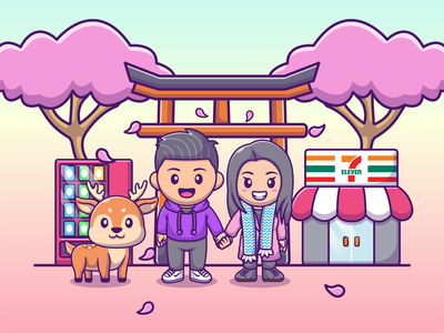 Couple Avatar With Japan Vibes 😍🗻 boy girl female male woman man stores deer icon illustration romance pufferfish store japan avatar logo mascot character couple cute