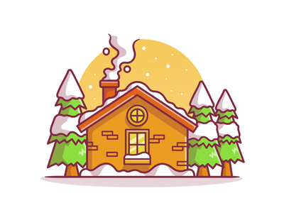 Winter😍❄️⛄ winter is coming buildings flat design cute cold house crystal new year tree shop holiday building snow flake season winter logo icon illustration