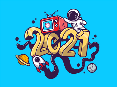 2021🎇 graffiti happy new year time mascot party television space astroman planet calendar 2021 rocket astronaut fireworks new years eve new year 2021 new year logo icon illustration