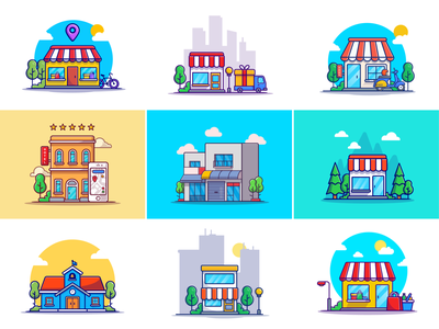 Store building🛍️🛒 bazaar market foodstuff groceries materials shipping commerce house trade gift minimarket pharmacy store building hotel shop store building logo icon illustration