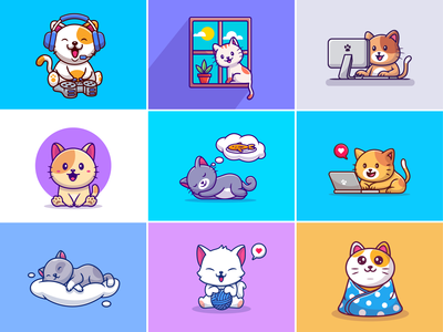 Cat hobbies🐈⚽🎧 happy cat cats window dreaming laptop computer meal fish sleepy cat music gaming cute animal cat activities cat hobbies cat cute mascot logo icon illustration