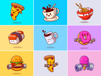 Cute food and drink🍕🍔☕🍦 glass dish ice cream noodle burger sushi donuts sports coffee pizza food barbell breakfast drink meal cute food cute logo icon illustration