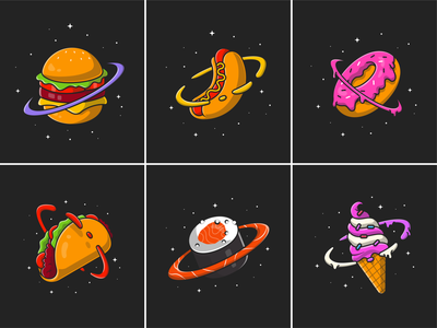 Food planet🍔🍩🪐 outer space sky hot dog donuts star sushi taco astronaut icecream burger unique planet space fast food meal food cute logo icon illustration