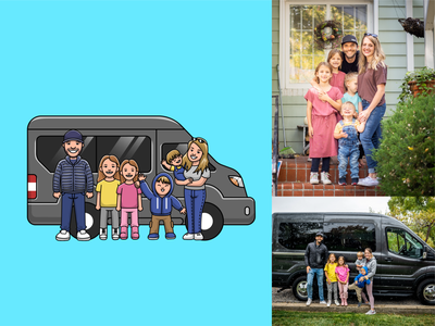 Family travel👨‍👩‍👧‍👦🚐 car clothes mascot family trip trip travel parents baby childs sisters minibus camping traveling family travel family avatar logo icon illustration